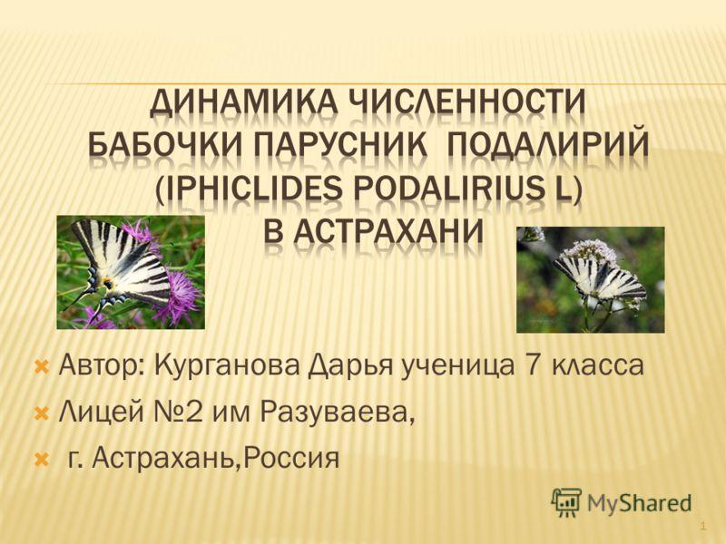 Автор: Курганова Дарья ученица 7 класса Лицей 2 им Разуваева, г. Астрахань,Россия 1