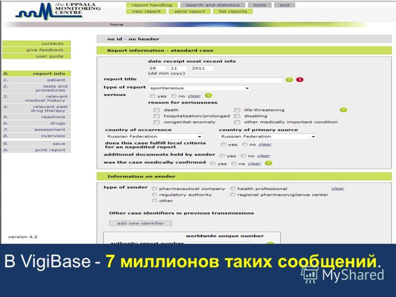 Более 100 стран (в т.ч. Россия) - участники программы ВОЗ по мониторингу безопасности лекарств. C 1968 г. функционирует международный центр мониторинга безопасности ЛС (UMC), UMC поддерживает базу данных сообщений о нежелательных реакциях и недостато