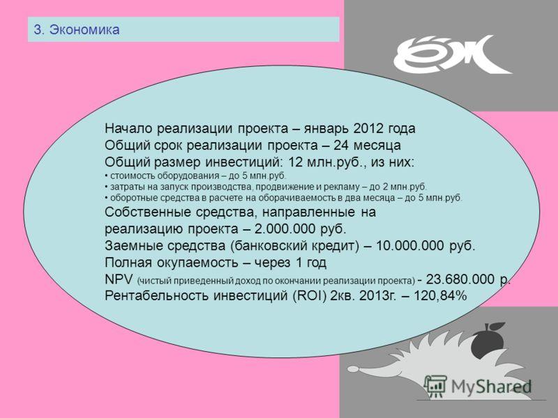3. Экономика Начало реализации проекта – январь 2012 года Общий срок реализации проекта – 24 месяца Общий размер инвестиций: 12 млн.руб., из них: стоимость оборудования – до 5 млн.руб. затраты на запуск производства, продвижение и рекламу – до 2 млн.