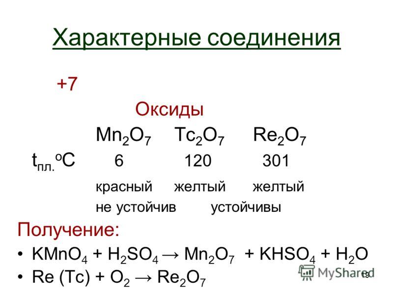 19 Характерные соединения +7 Оксиды Mn 2 O 7 Tc 2 O 7 Re 2 O 7 t пл. о С 6 120 301 красныйжелтый не устойчив устойчивы Получение: KMnO 4 + H 2 SO 4 Mn 2 O 7 + KHSO 4 + H2OH2O Re (Tc) + O2 O2 Re 2 O 7