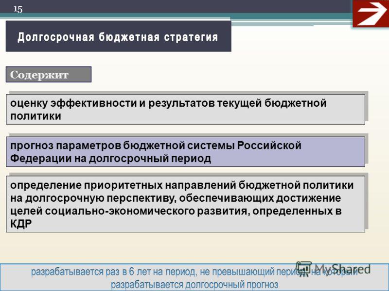 15 оценку эффективности и результатов текущей бюджетной политики прогноз параметров бюджетной системы Российской Федерации на долгосрочный период определение приоритетных направлений бюджетной политики на долгосрочную перспективу, обеспечивающих дост