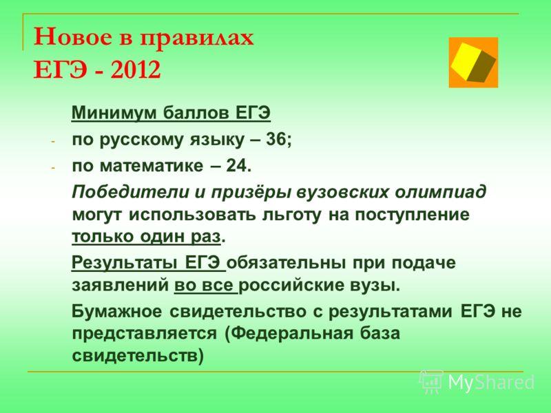 Новое в правилах ЕГЭ - 2012 Минимум баллов ЕГЭ - по русскому языку – 36; - по математике – 24. Победители и призёры вузовских олимпиад могут использовать льготу на поступление только один раз. Результаты ЕГЭ обязательны при подаче заявлений во все ро