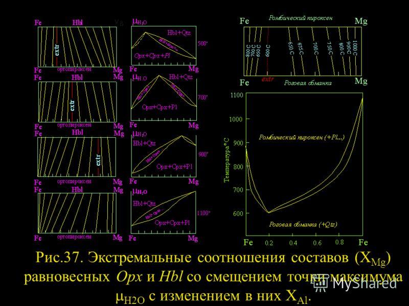 Рис.37. Экстремальные соотношения составов (X Mg ) равновесных Opx и Hbl со смещением точки максимума H2O c изменением в них X Al.