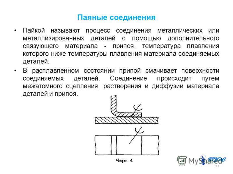 Паяные соединения Пайкой называют процесс соединения металлических или металлизированных деталей с помощью дополнительного связующего материала - припоя, температура плавления которого ниже температуры плавления материала соединяемых деталей. В распл