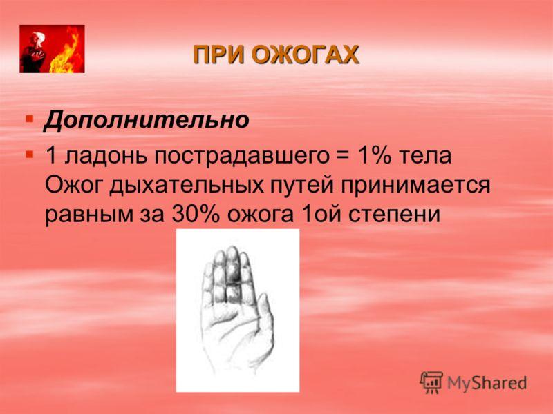 ПРИ ОЖОГАХ Дополнительно 1 ладонь пострадавшего = 1% тела Ожог дыхательных путей принимается равным за 30% ожога 1ой степени