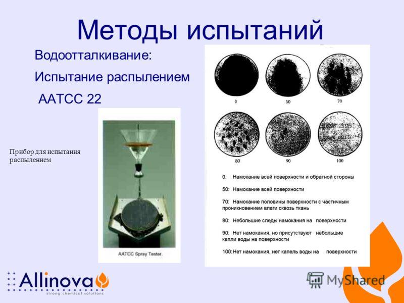 Методы испытаний Водоотталкивание: Испытание распылением AATCC 22 Прибор для испытания распылением