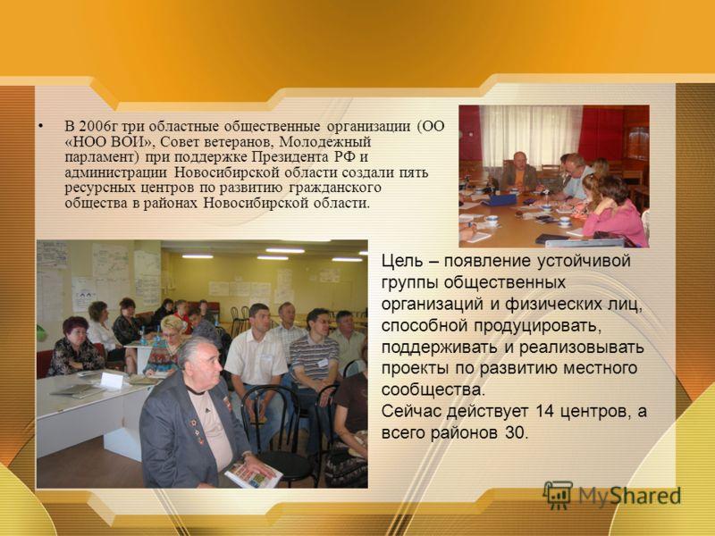 В 2006г три областные общественные организации (ОО «НОО ВОИ», Совет ветеранов, Молодежный парламент) при поддержке Президента РФ и администрации Новосибирской области создали пять ресурсных центров по развитию гражданского общества в районах Новосиби