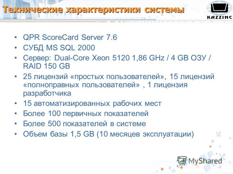 Технические характеристики системы QPR ScoreCard Server 7.6 СУБД MS SQL 2000 Сервер: Dual-Core Xeon 5120 1,86 GHz / 4 GB ОЗУ / RAID 150 GB 25 лицензий «простых пользователей», 15 лицензий «полноправных пользователей», 1 лицензия разработчика 15 автом
