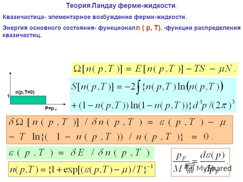 Теория Ландау ферми-жидкости. Квазичастица- элементарное возбуждение ферми-жидкости. Энергия основного состояния- функционал -функции распределения квазичастиц. n ( p, T). P=p F n(p,T=0) 1