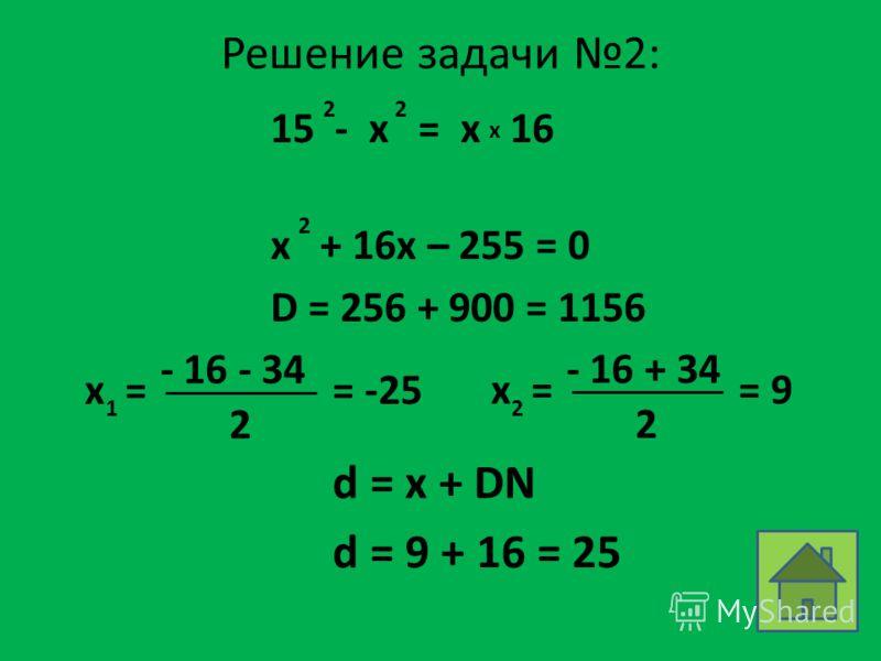Решение задачи 2: 15 - x = x 16 22 x x + 16x – 255 = 0 2 D = 256 + 900 = 1156 x = 1 - 16 - 34 2 = -25x = 2 - 16 + 34 2 = 9 d = x + DN d = 9 + 16 = 25