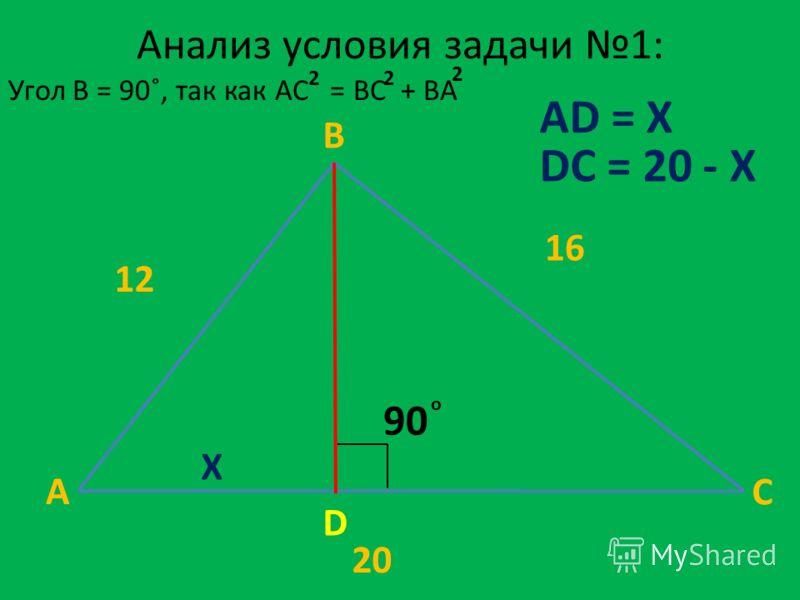 Анализ условия задачи 1: A B C D 90 о 12 16 20 X AD = X DC = 20 - X 2 Угол B = 90˚, так как AC = BC + BA 22