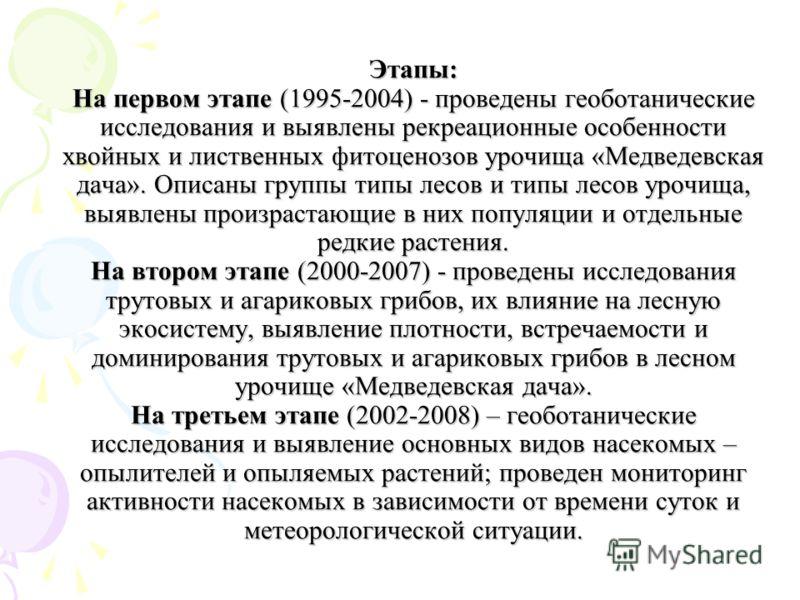 Этапы: На первом этапе (1995-2004) - проведены геоботанические исследования и выявлены рекреационные особенности хвойных и лиственных фитоценозов урочища «Медведевская дача». Описаны группы типы лесов и типы лесов урочища, выявлены произрастающие в н