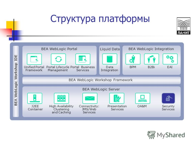 Структура платформы Unified Portal Framework Portal Lifecycle Management Portal Business Services Data Integration BPMB2BiEAI J2EE Container High Availability Clustering and Caching Connectivity: JMS/Web Services Presentation Services OA&MSecurity Se