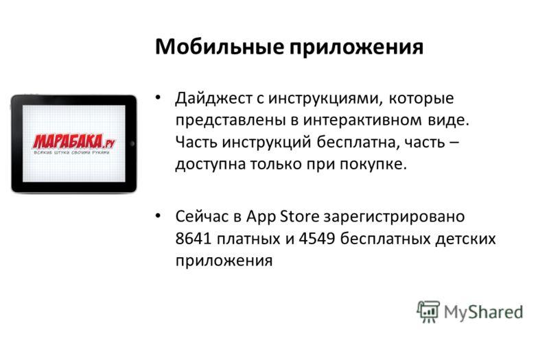 Мобильные приложения Дайджест с инструкциями, которые представлены в интерактивном виде. Часть инструкций бесплатна, часть – доступна только при покупке. Сейчас в App Store зарегистрировано 8641 платных и 4549 бесплатных детских приложения
