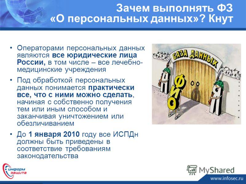 Операторами персональных данных являются все юридические лица России, в том числе – все лечебно- медицинские учреждения Под обработкой персональных данных понимается практически все, что с ними можно сделать, начиная с собственно получения тем или ин