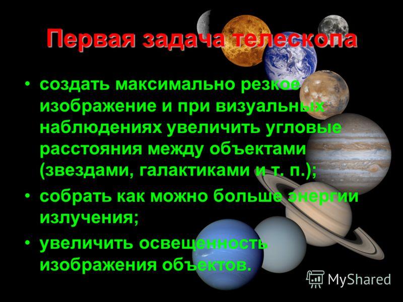 Первая задача телескопа создать максимально резкое изображение и при визуальных наблюдениях увеличить угловые расстояния между объектами (звездами, галактиками и т. п.); собрать как можно больше энергии излучения; увеличить освещенность изображения о