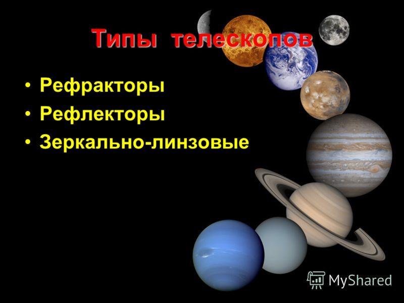 Типы телескопов Рефракторы Рефлекторы Зеркально-линзовые