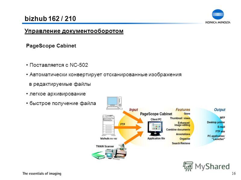 16 Управление документооборотом PageScope Cabinet Поставляется с NC-502 Автоматически конвертирует отсканированные изображения в редактируемые файлы легкое архивирование быстрое получение файла bizhub 162 / 210
