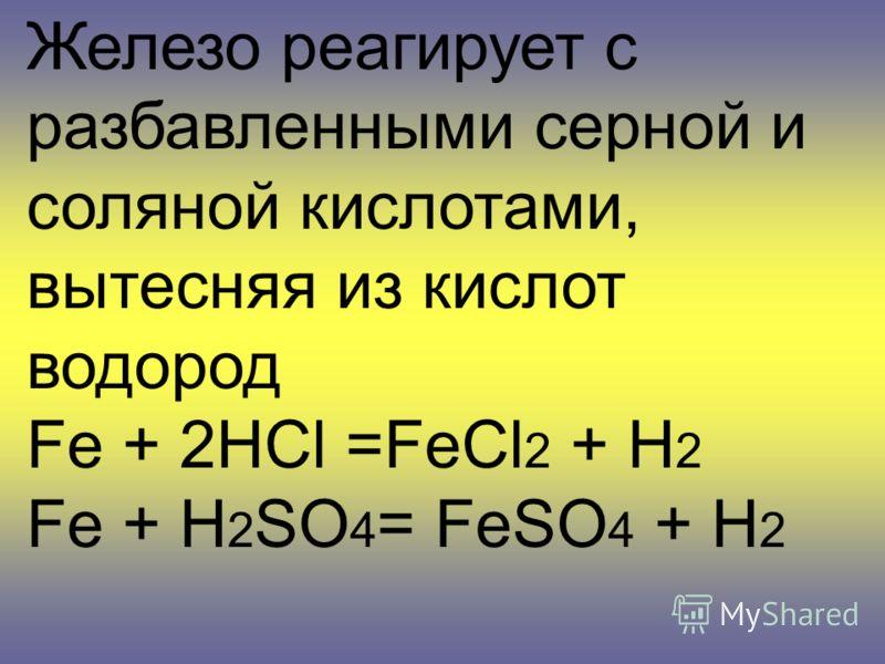 Железо реагирует с разбавленными серной и соляной кислотами, вытесняя из кислот водород Fe + 2HCl =FeCl 2 + H 2 Fe + H 2 SO 4 = FeSO 4 + H 2