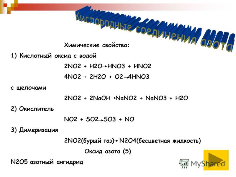 Химические свойства: 1)Кислотный оксид с водой 2NO2 + H2O HNO3 + HNO2 4NO2 + 2H2O + O2 4HNO3 с щелочами 2NO2 + 2NaOH NaNO2 + NaNO3 + H2O 2) Окислитель NO2 + SO2 SO3 + NO 3) Димеризация 2NO2(бурый газ) N2O4(бесцветная жидкость) Оксид азота (5) N2O5 аз