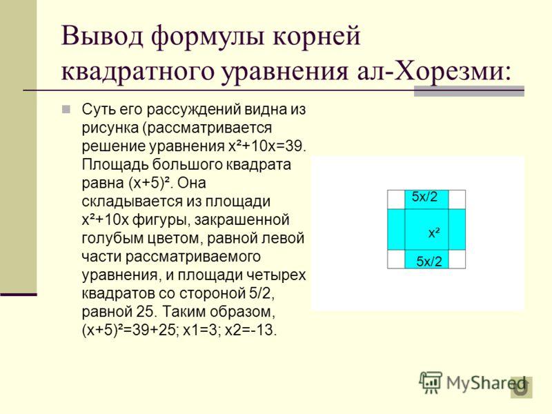 Формула корней квадратного уравнения «переоткрывалась» неоднократно. Один из первых дошедших до наших дней выводов этой формулы принадлежит индийскому математику Брахмагупте (около 598 г.). Брахмагупте Среднеазиатский ученый ал-Хорезми (IX в.) в трак
