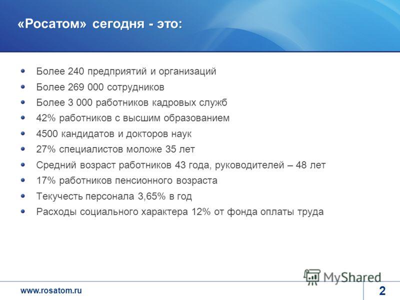 www.rosatom.ru 2 «Росатом» сегодня - это: Более 240 предприятий и организаций Более 269 000 сотрудников Более 3 000 работников кадровых служб 42% работников с высшим образованием 4500 кандидатов и докторов наук 27% специалистов моложе 35 лет Средний
