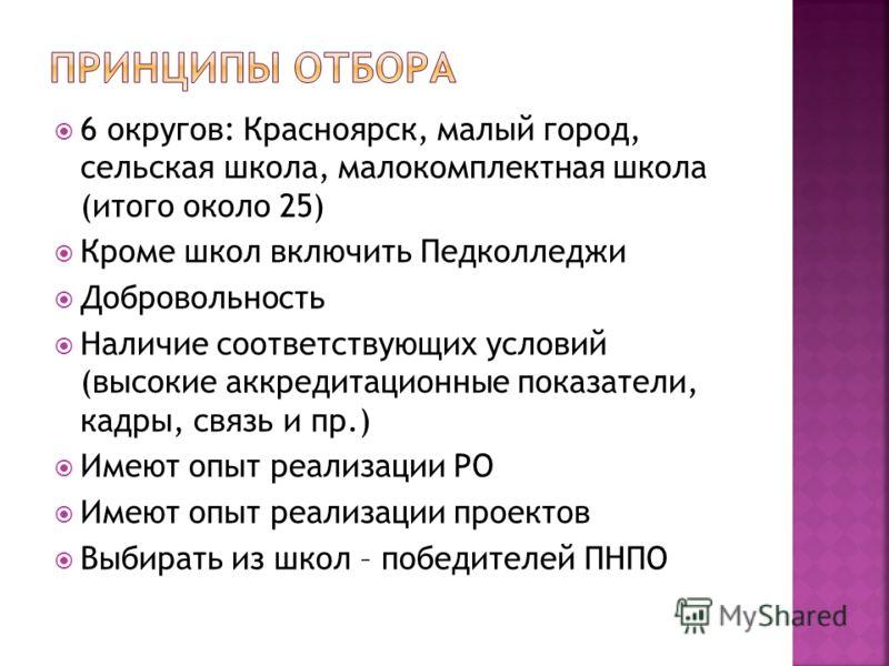 6 округов: Красноярск, малый город, сельская школа, малокомплектная школа (итого около 25) Кроме школ включить Педколледжи Добровольность Наличие соответствующих условий (высокие аккредитационные показатели, кадры, связь и пр.) Имеют опыт реализации
