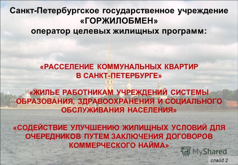 Санкт-Петербургское государственное учреждение «ГОРЖИЛОБМЕН» оператор целевых жилищных программ: «РАССЕЛЕНИЕ КОММУНАЛЬНЫХ КВАРТИР В САНКТ-ПЕТЕРБУРГЕ» «ЖИЛЬЕ РАБОТНИКАМ УЧРЕЖДЕНИЙ СИСТЕМЫ ОБРАЗОВАНИЯ, ЗДРАВООХРАНЕНИЯ И СОЦИАЛЬНОГО ОБСЛУЖИВАНИЯ НАСЕЛЕН