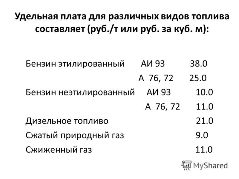 Удельная плата для различных видов топлива составляет (руб./т или руб. за куб. м): Бензин этилированный АИ 93 38.0 А 76, 72 25.0 Бензин неэтилированный АИ 93 10.0 А 76, 72 11.0 Дизельное топливо 21.0 Сжатый природный газ 9.0 Сжиженный газ 11.0