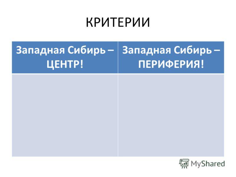 КРИТЕРИИ Западная Сибирь – ЦЕНТР! Западная Сибирь – ПЕРИФЕРИЯ!