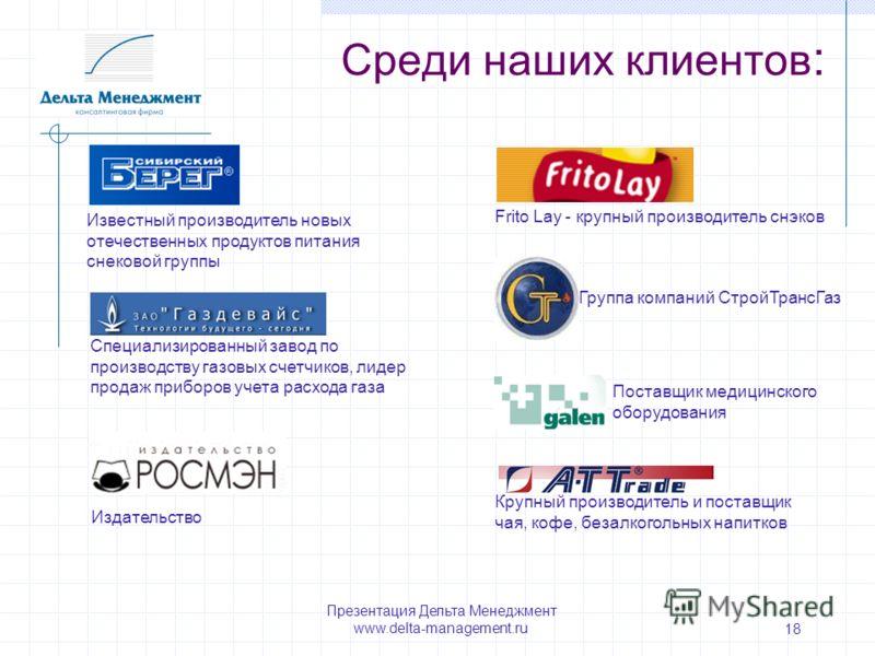 Презентация Дельта Менеджмент www.delta-management.ru 18 Среди наших клиентов : Специализированный завод по производству газовых счетчиков, лидер продаж приборов учета расхода газа Крупный производитель и поставщик чая, кофе, безалкогольных напитков