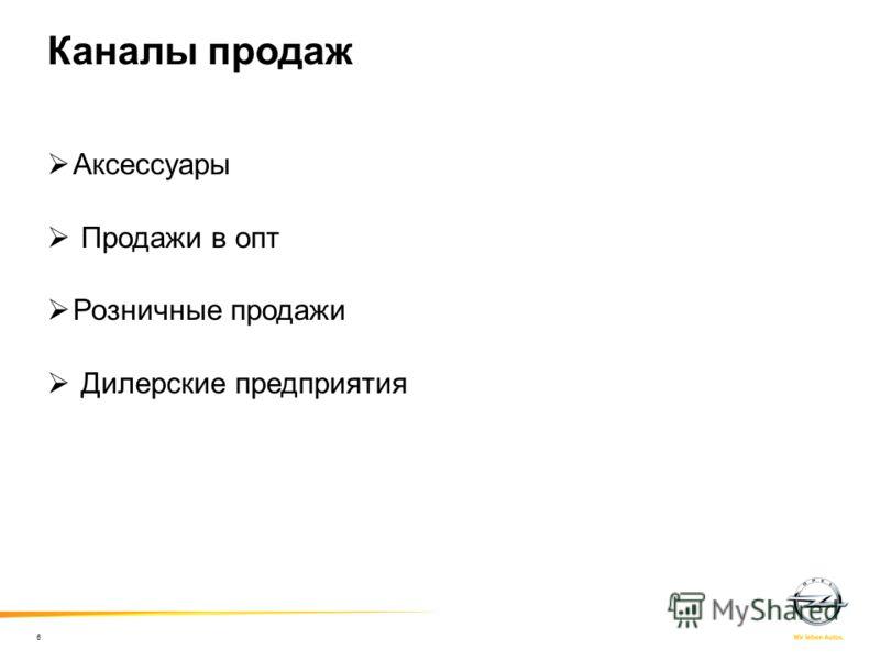 Каналы продаж Аксессуары Продажи в опт Розничные продажи Дилерские предприятия 6