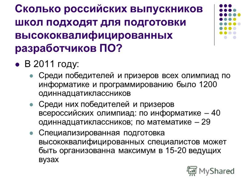 11 Сколько российских выпускников школ подходят для подготовки высококвалифицированных разработчиков ПО? В 2011 году: Среди победителей и призеров всех олимпиад по информатике и программированию было 1200 одиннадцатиклассников Среди них победителей и