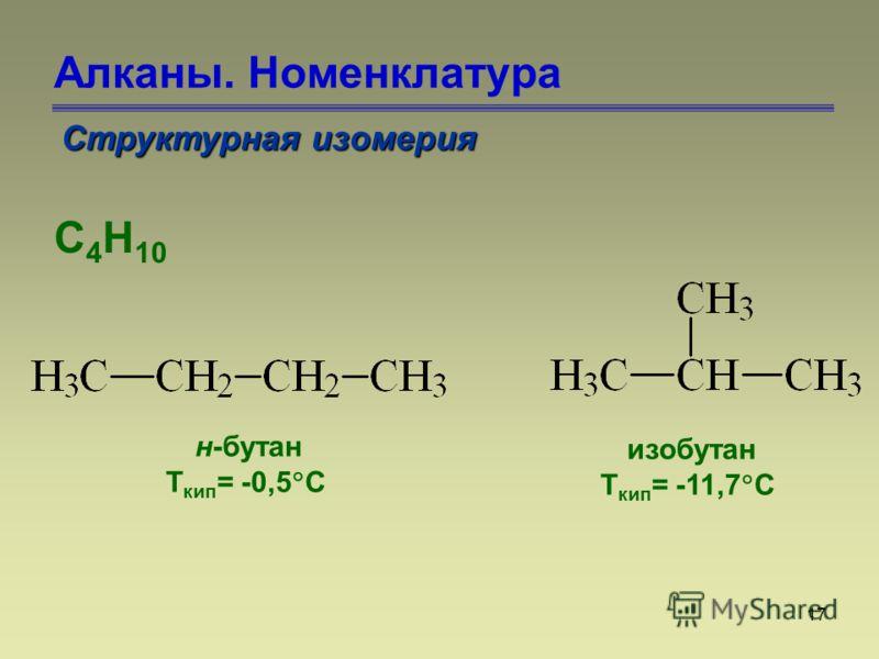 17 Алканы. Номенклатура Структурная изомерия С 4 Н 10 н-бутан Т кип = -0,5 С изобутан Т кип = -11,7 С