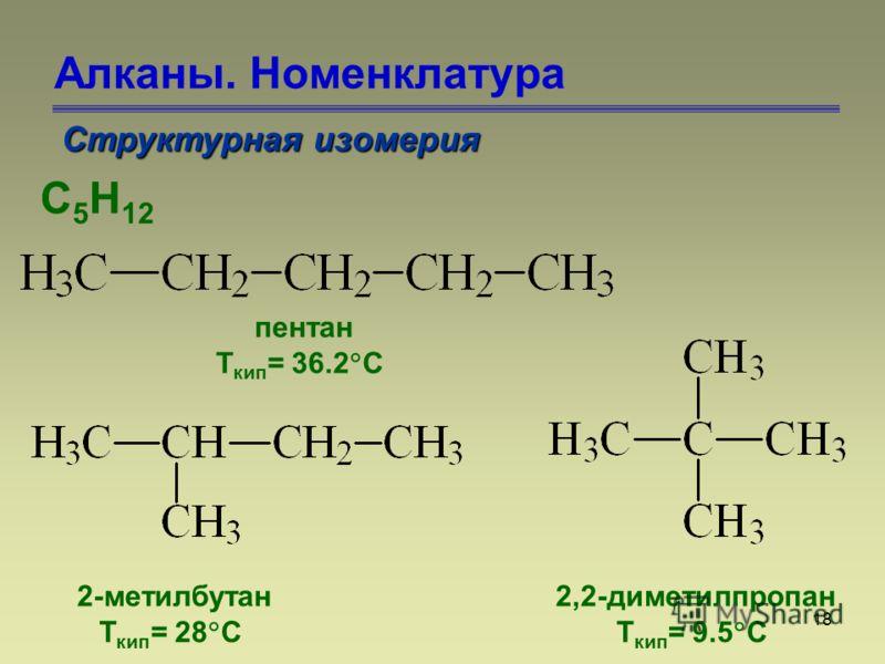 18 Алканы. Номенклатура Структурная изомерия С 5 Н 12 пентан Т кип = 36.2 С 2-метилбутан Т кип = 28 С 2,2-диметилпропан Т кип = 9.5 С