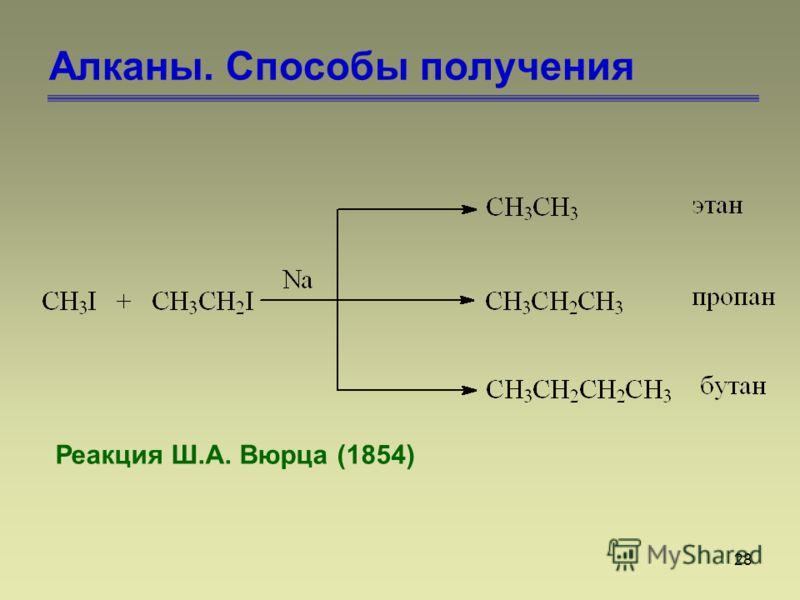 28 Алканы. Способы получения Реакция Ш.А. Вюрца (1854)