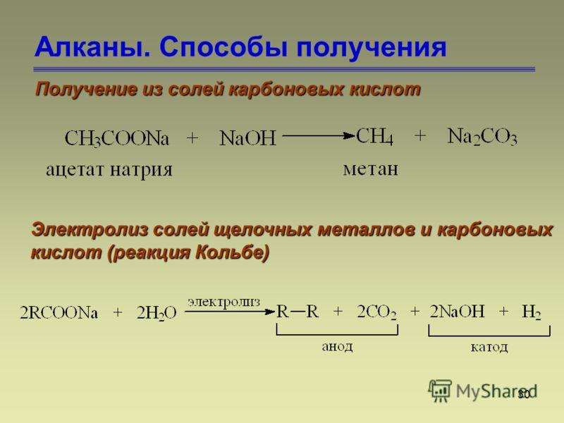 30 Алканы. Способы получения Получение из солей карбоновых кислот Электролиз солей щелочных металлов и карбоновых кислот (реакция Кольбе)