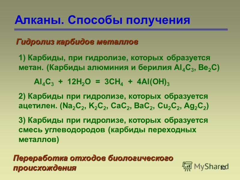 32 Алканы. Способы получения Гидролиз карбидов металлов 1) Карбиды, при гидролизе, которых образуется метан. (Карбиды алюминия и берилия Al 4 C 3, Be 2 C) Al 4 C 3 + 12H 2 O = 3CH 4 + 4Al(OH) 3 2) Карбиды при гидролизе, которых образуется ацетилен. (