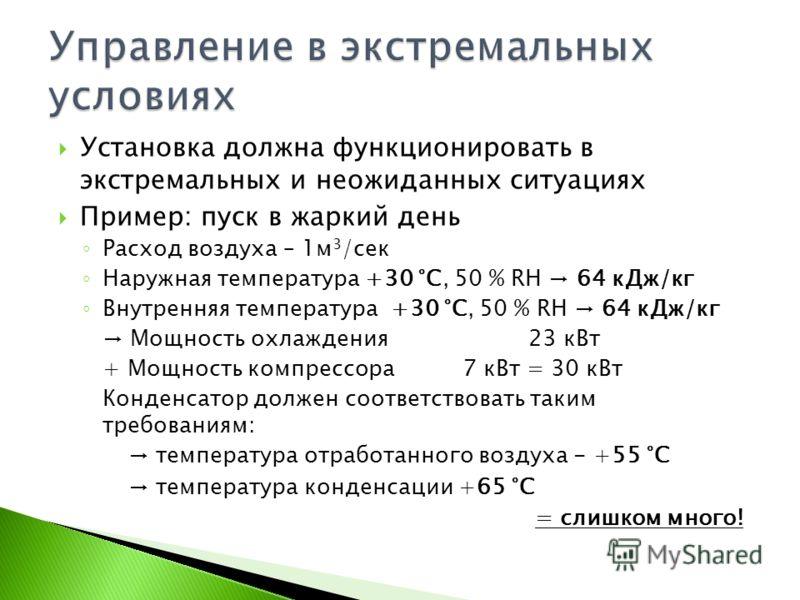 Установка должна функционировать в экстремальных и неожиданных ситуациях Пример: пуск в жаркий день Расход воздуха – 1м 3 /сек Наружная температура +30 °C, 50 % RH 64 кДж/кг Внутренняя температура +30 °C, 50 % RH 64 кДж/кг Мощность охлаждения23 кВт +
