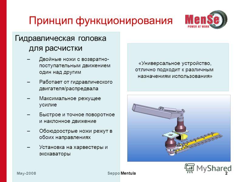 May-2008 Seppo Mentula2 Принцип функционирования Гидравлическая головка для расчистки –Двойные ножи с возвратно- поступательным движением один над другим –Работает от гидравлического двигателя/распредвала –Максимальное режущее усилие –Быстрое и точно