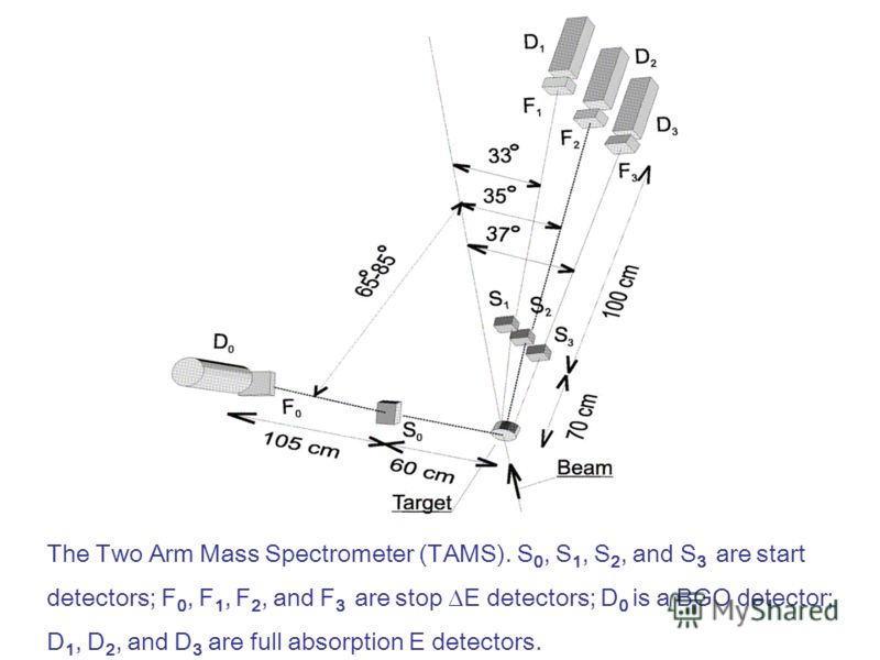 The Two Arm Mass Spectrometer (TAMS). S 0, S 1, S 2, and S 3 are start detectors; F 0, F 1, F 2, and F 3 are stop E detectors; D 0 is a BGO detector; D 1, D 2, and D 3 are full absorption E detectors.