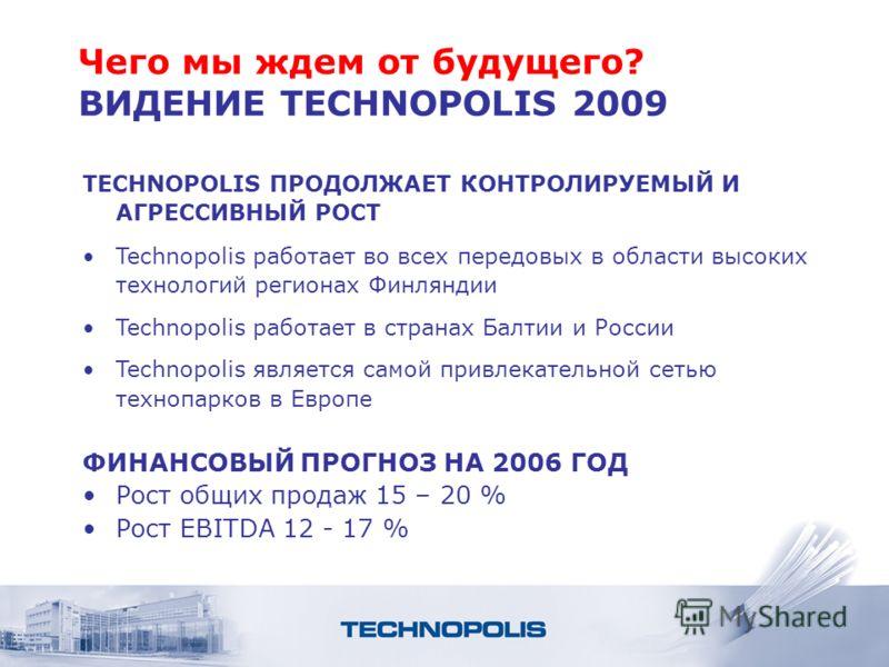 Чего мы ждем от будущего? ВИДЕНИЕ TECHNOPOLIS 2009 TECHNOPOLIS ПРОДОЛЖАЕТ КОНТРОЛИРУЕМЫЙ И АГРЕССИВНЫЙ РОСТ Technopolis работает во всех передовых в области высоких технологий регионах Финляндии Technopolis работает в странах Балтии и России Technopo