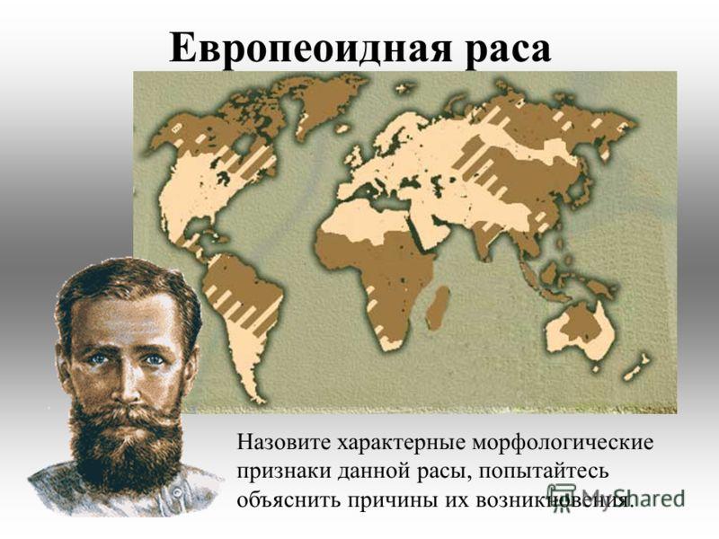 Европеоидная раса Назовите характерные морфологические признаки данной расы, попытайтесь объяснить причины их возникновения.