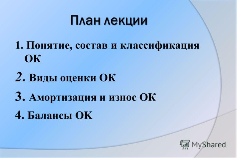 План лекции 1. Понятие, состав и классификация ОК 2. Виды оценки ОК 3. Амортизация и износ ОК 4. Балансы OK
