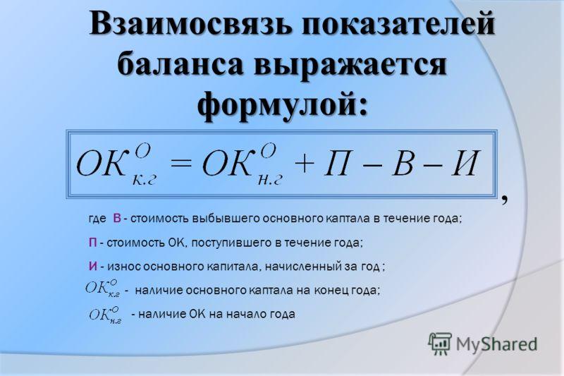 Взаимосвязь показателей баланса выражается формулой:, где В - стоимость выбывшего основного каптала в течение года; П - стоимость OK, поступившего в течение года; И - износ основного капитала, начисленный за год ; - наличие основного каптала на конец