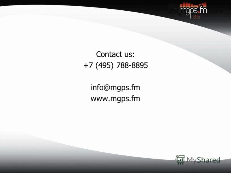 Contact us: +7 (495) 788-8895 info@mgps.fm www.mgps.fm