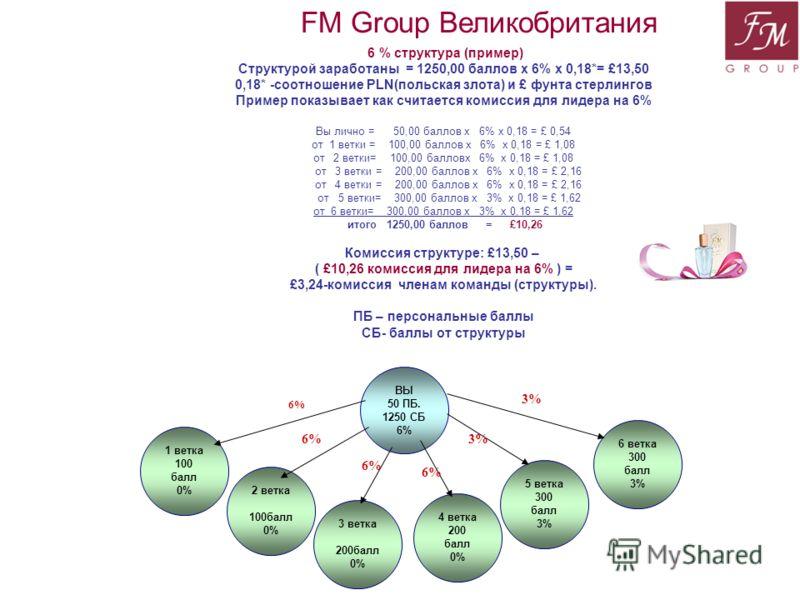 1 ветка 100 балл 0% 2 ветка 100балл 0% 4 ветка 200 балл 0% ВЫ 50 ПБ. 1250 СБ 6% 3 ветка 200балл 0% 6 ветка 300 балл 3% 5 ветка 300 балл 3% FM Group Великобритания 6 % структура (пример) Структурой заработаны = 1250,00 баллов x 6% x 0,18*= £13,50 0,18