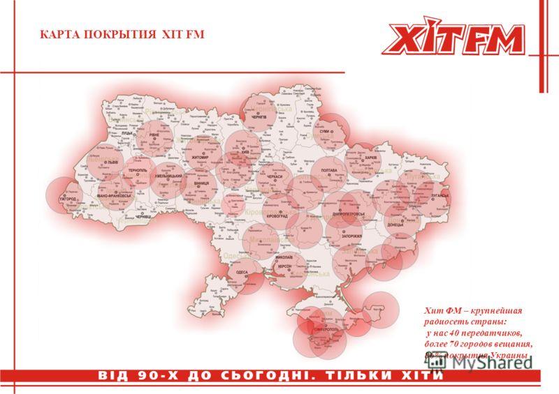 КАРТА ПОКРЫТИЯ ХIT FM Хит ФМ – крупнейшая радиосеть страны: у нас 40 передатчиков, более 70 городов вещания, 86% покрытия Украины