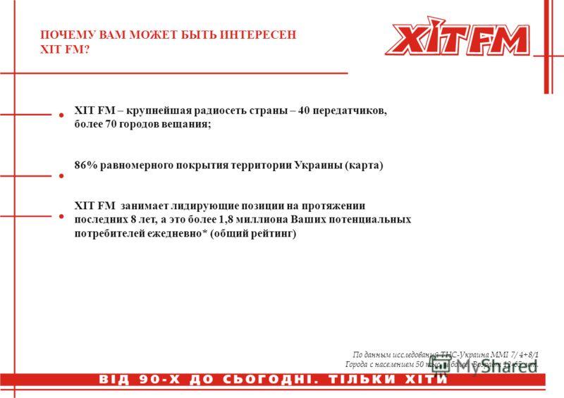 ПОЧЕМУ ВАМ МОЖЕТ БЫТЬ ИНТЕРЕСЕН ХIТ FM? ХIT FM – крупнейшая радиосеть страны – 40 передатчиков, более 70 городов вещания; 86% равномерного покрытия территории Украины (карта) ХIT FM занимает лидирующие позиции на протяжении последних 8 лет, а это бол