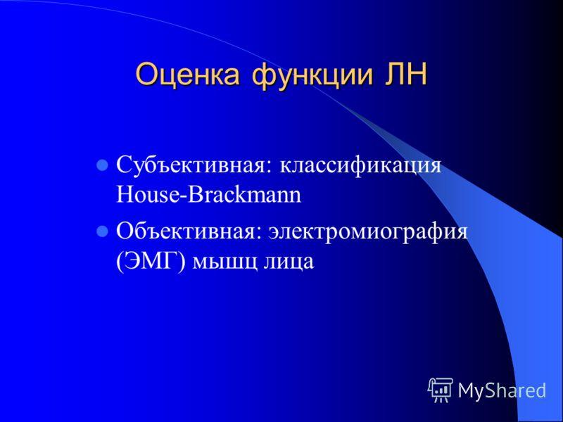 Оценка функции ЛН Субъективная: классификация House-Brackmann Объективная: электромиография (ЭМГ) мышц лица